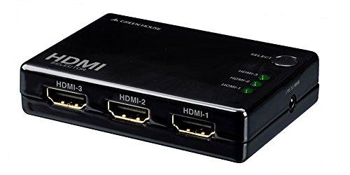 グリーンハウス 手動切り替えタイプ HDMI切換器 Deep Color/3D映像 フルHD映像対応 3台用 リモコン付 Input3+Output1ポート GH-HSWC3-BK