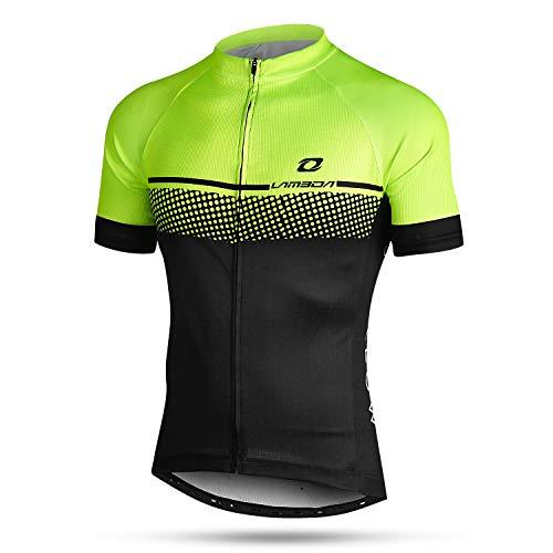 LAMEDA Kurzarm Radtrikot Herren Damen T-Shirt Jersey Funktionsshirt Elastische Atmungsaktive Schnell Trocknen Stoff Fahrradtrikot für Radsport Outdoor Sport(Schwarz&Grün XXL)