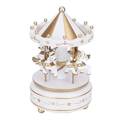 Yanmis Caja de música, Carrusel Caja de música Mercancía para 4 Caballos Carrusel clásico Caja Musical Resina sintética Durable para decoración o Regalo(Blanco)