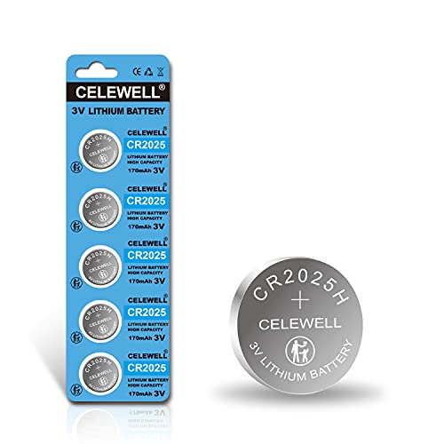 【5-Year Warranty】 CELEWELL CR2025 CR 2025 Lithium Battery High Capacity 170mAh 3V 5 Pack