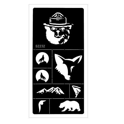 JUSTFOX - Henna Tattoo sjabloon Airbrush Stencil Wolf Beer bergen Kina Dövme