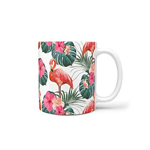 OwlOwlfan Taza de cerámica con diseño de flamenco, taza de café personalizada, con asa para café, bar, cumpleaños, festival, regalo para mujeres y hombres, color blanco, 11 oz