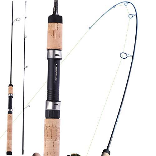 Canne da pesca Sougayilang, 2 pezzi Canna da pesca spinning leggera e resistente con manico in sughero Canne da trota, Grezzo in composito di carbonio, I migliori regali per gli amanti della pesca-56