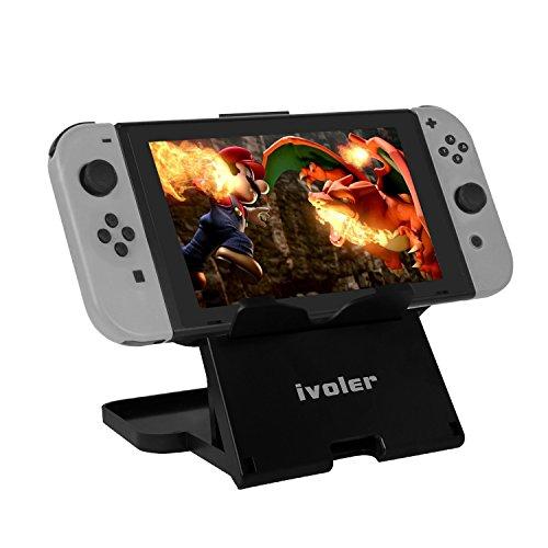 iVoler Nintendo Switch Stand Faltbar Tablet Halterung Ständer mit Verstellbar Winkel und Rutschfest Gummi Pads, Ladekabel auslass, Stabil, Playstand for Nintendo Switch - Schwarz