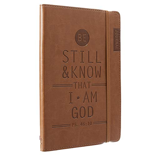 Christian Art Gifts Tan Faux Leather Journal | Be Still and Know - Psalm 46:10 | Flexcover Inspirational Notebook w/Elastic Closure 160 Lined Pages w/Scripture, 5.8 x 8.5 Inches