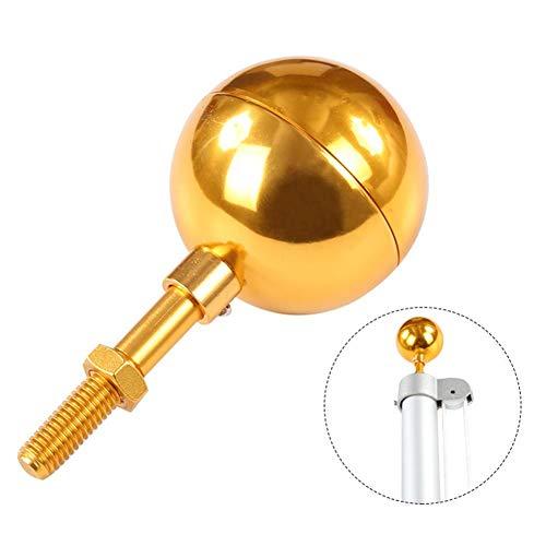 Luckyx Fahnenmast Kugel Gold eloxiert Aluminium Finish Fahnenmast Topper Ornament für Gartendekoration