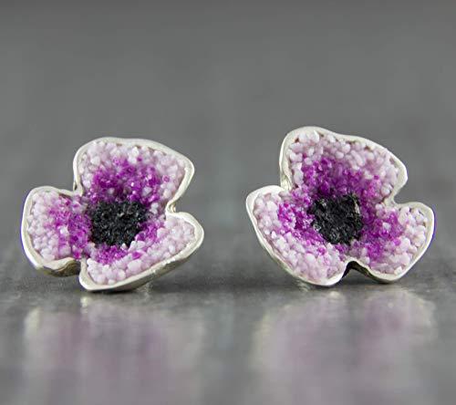 Damen-Ohrstecker Mohn-Blüte Violett 925 Sterling-Silber Designer-Schmuck Ohrring