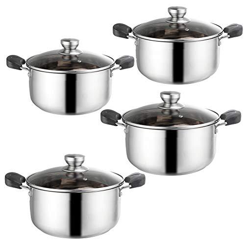 ROYWY Juego de 4 ollas, Baterías de cocina, con tapa de vidrio templado, cacerola, mango conveniente, adecuado para cocina de inducción de gas, fácil de limpiar Olla de sopa