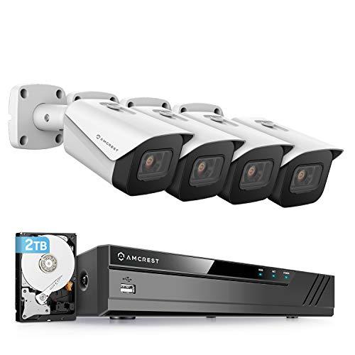 Amcrest 4K Security Camera System w/ 4K (8MP) 8CH PoE NVR, (4) x 4K (8-Megapixel) IP67 Weatherproof Metal Bullet POE IP Cameras, Pre-Installed 2TB Hard Drive, NV4108E-IP8M-2496EW4-2TB (White)