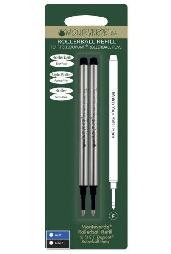 Monteverde - Recambio para bolígrafos roller S.T Dupont (punta fina, 2 unidades), color negro