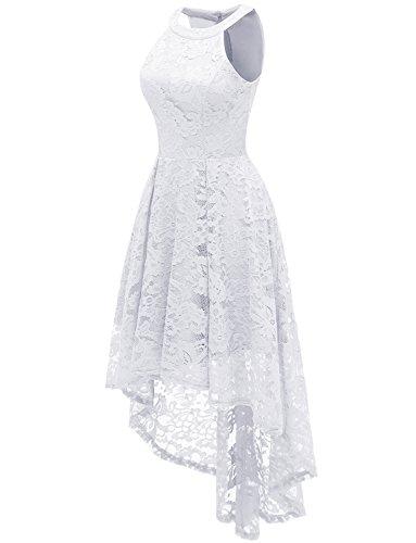 Dressystar Vestido Cóctel Hi-lo Flor Encaje Elegante Mujer Sin Manga Cuello Halter Blanco XXL
