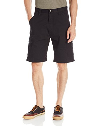 Wrangler Authentics Men's Classic Relaxed Fit Cargo Short, Black Twill, 36