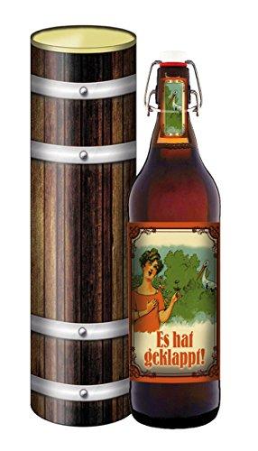 tolle Nachricht - Schwanger - Bier 1 Liter Flasche mit Bügelverschluss in der Geschenkdose im Holzdesign