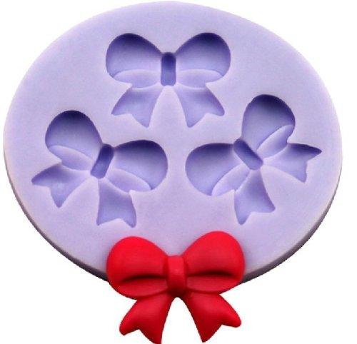 Allforhome Mini moule en silicone pour décorations de gâteaux 3cavités Motif nœuds 2,5cm