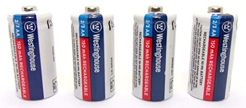 4X Westinghouse 2/3 AA Ni-Mh Battery Batteries Rechargeable 1.2 V Volt 150 mAh Reusable Chargeable by JL Missouri Parts
