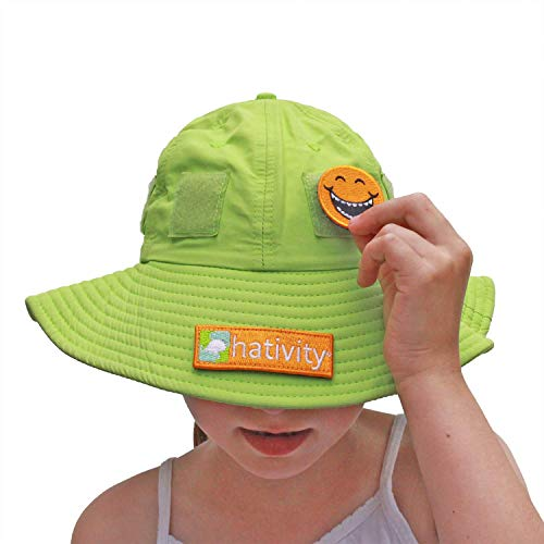 Hativity Kids Boy Girl UPF 50+ Best Interactive Sun Hat, Sun Protective, Wide Brim, Breathable (Patches Sold Separately) (Green, Small (3-6))