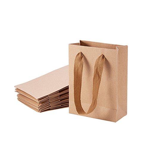 NBEADS 10 Bolsas de Regalo con Asa, Bolsa de Papel Kraft para Regalo de Boda, Fiesta de cumpleaños, Navidad, 16 x 12 x 5,7 cm