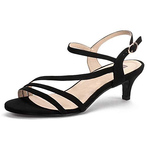 IDIFU Women's Dressy Strappy 2 Inch Low Kitten Heel Open Toe Sandals Dress Shoes for Woman Lady in Bridal Dance Evening(Black Nubuck, 10)