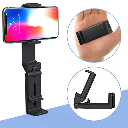 Phone Stand MiiKARE Universal Mount Phone Holder 360 Degree Rotating Adjustable Phone Clamp Compatible with iPhone 11 XS Max XS Android Phones Portable Phone Mount for Airplane Trays Desk Bed Cabinet