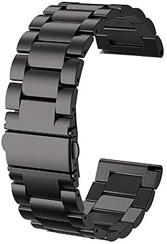 chenghuax Correas de Reloj, Pulsera de Pulsera de Acero Inoxidable de 24 mm Pulsera de la Correa de la Correa de los Hombres, reemplazo de la Banda de Reloj (Color : -, Size : Black)