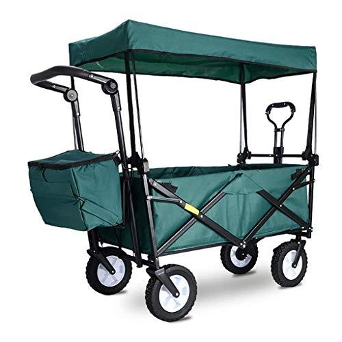 SOAR Chariot Pliable Pliante de jardin Chariot panier Heavy Duty Wagon avec auvent multi-fonction Portable Panier for camping en plein air Pêche à la main Pull panier Avec 4 roues, charge: 80 kg