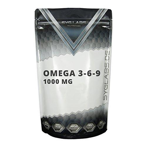 Syglabs Nutrition Omega 3-6 - 9, 1000 mg hochdosiert + Vitamin E - 500 Kapseln