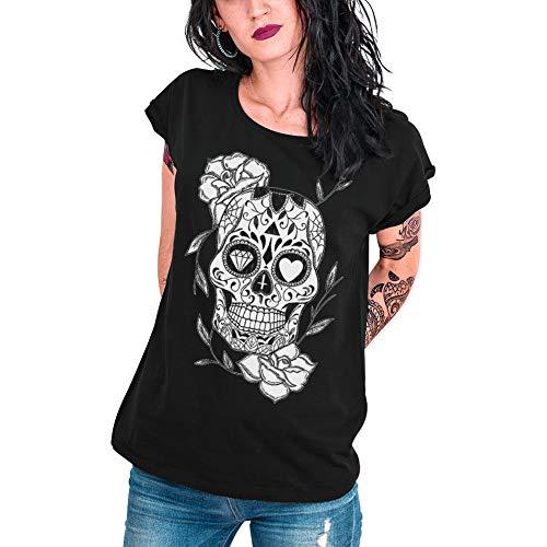 VIENTO Mexican Skull Camiseta para Mujer (Negro, L)