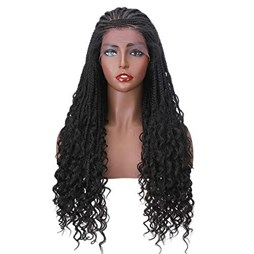 Long Curly Braided Lace Front Wigs for Black Women African Curls Ends Cornrow Box Braided Braid Braids Synthetic Braiding Wig With Baby Hair 26'/26inch Natural 1B Black