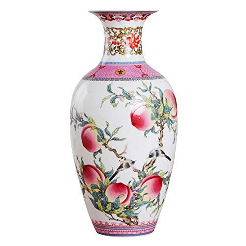 LGYLucky Antike Vintage Keramik-Vase Schreibtisch-Accessoires Crafts Pink Flower Traditionelle Porzellan Chinesische Vasen,Pfirsich