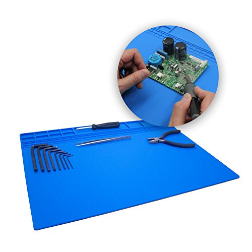 Large Soldering Mat/Pad Silicone Heat Resistant Mat 932°F Hot Air Rework Mat/Pad Repair Mat for iPad,iPhone,Circuit board and other Electronics Repairing 15.8 x 11.8 Inches(Blue)