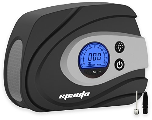 EPAuto 12V DC Auto Portable Air Compressor Pump, Preset Digital Tire Inflator by 100 PSI for Compact/Midsize Sedan SUV