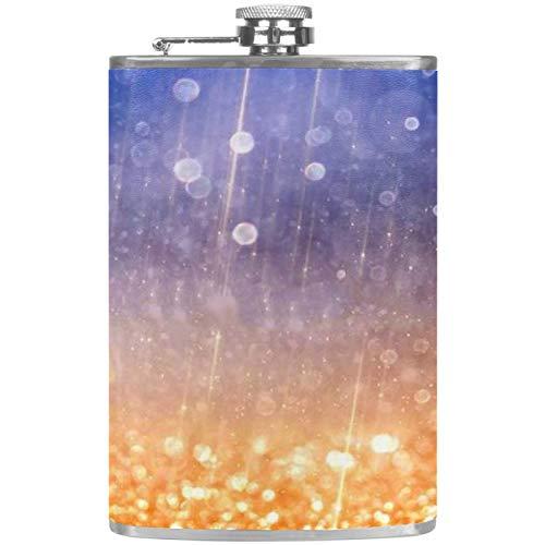 Chuangxin - Fiaschetta glitterata in acciaio INOX, 226,8 g, per liquori con imbuto