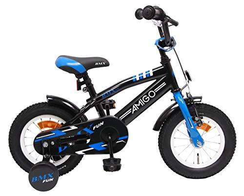 AMIGO BMX Fun - Kinderfiets - 12 inch - Jongens - Met zijwieltjes en terugtraprem - Vanaf 3 jaar - Zwart/blauw