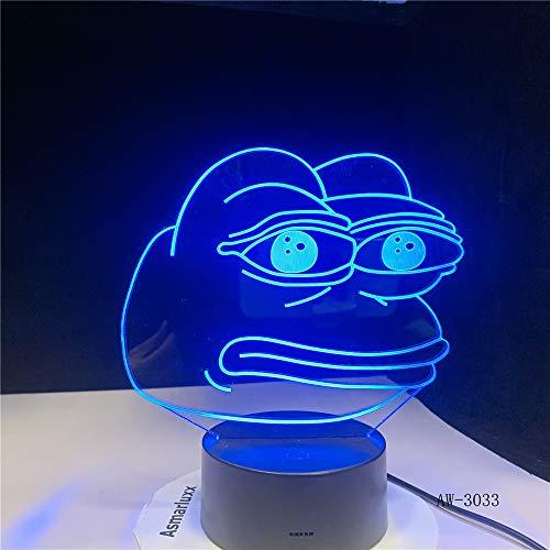 Luz de noche de rana de dibujos animados ilusión 3D 7 cambio de color decoración lámpara de mesa niño niña Navidad niños regalo escritorio lámpara de mesa mesita de noche 3033