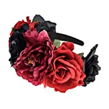 Vividsun Frida Kahlo Mexican Rose Flower Crown Day of The Dead Floral Crown (red Black)
