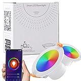 Ankishi Faretti LED da incasso intelligenti, Lampada da Pannello Wi-Fi Ultrasottile 9W 900LM, Downlight Multicolore Dimmerabile, Compatibile con Alexa e Google Assistant (2 PACK)