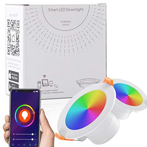 Ankishi Faretti LED da incasso intelligenti, Lampada da Pannello Wi-Fi Ultrasottile 9W 900LM, Downlight...