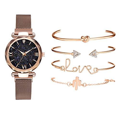 Pulsera Set Reloj de Moda Minimalista Reloj de Moda Reloj Conjunto colección Tendencia Reloj de Mujer Marrón