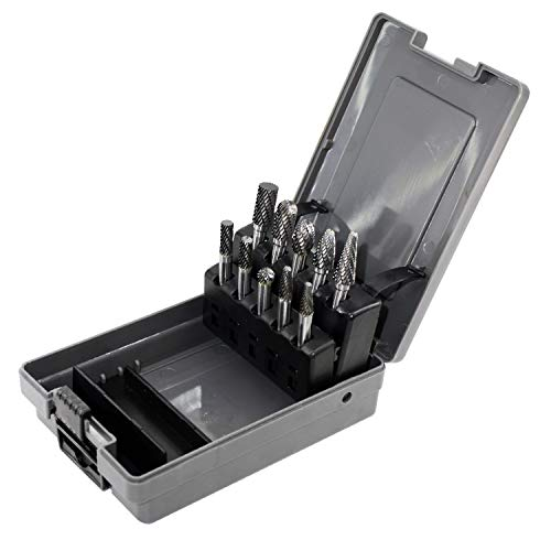 Carbide Burrs Set with 1/4''Shank Double Cut Solid...