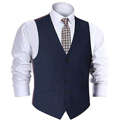 CHAMA Men's Suit Vest, Formal Suit Wool Vest for Men Business Vest Dress Vest Waistcoat 5 Button Regular Fit(Navy Blue, 42 Regular)