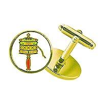 仏教の宗教の祈りの輪のサンスクリット語 スタッズビジネスシャツメタルカフリンクスゴールド