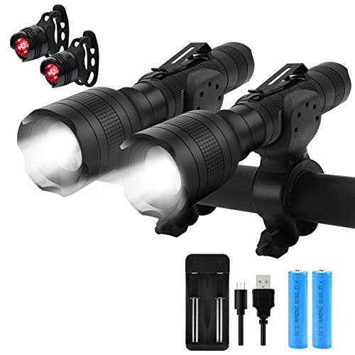 Keenstone Flashlight Rechargeable, Bike Light Set Rechargeable Flashlight 2 Pack 700 Lumen Zoomable and Bike Taillight Includes Batteries and Charger