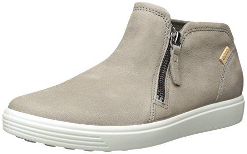 ECCO Women's Soft 7 Low Bootie Fashion Sneaker, Warm Grey/Powder Nubuck, 8-8.5