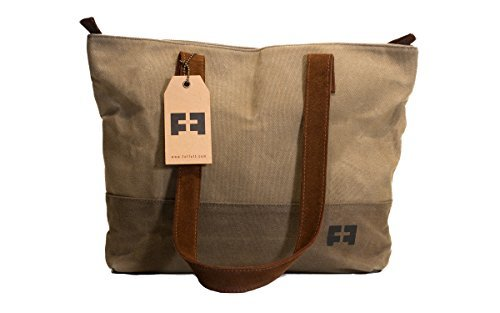 the SMALL TOTE | Waxed Cotton Canvas small shoulder tote bag with...