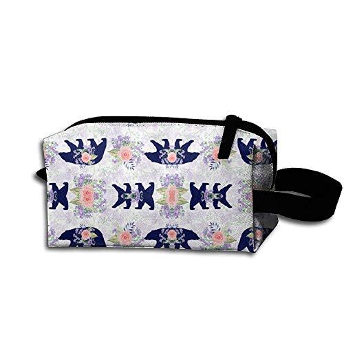 Travel Makeup Bear and Floral Beautiful Waterproof Cosmetic Bag Quick Makeup Bag Pencil Case