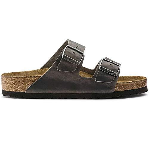 BIRKENSTOCK Unisex Schuhe Damen und Herren Arizona SFB Edle Sandale aus hochwertigem Leder, weiches Soft-Footbed, Clog, Grau (Iron), EU 35, Normal