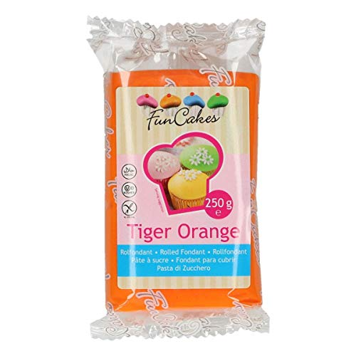 FunCakes Fondant Tiger Orange 4er Pack (4 x 250 g)