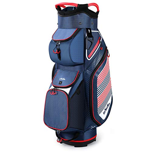 Golf Cart Bag with Clubs Organizer Divider Top Lightweight with Cooler, Dust Cover and Back Strap