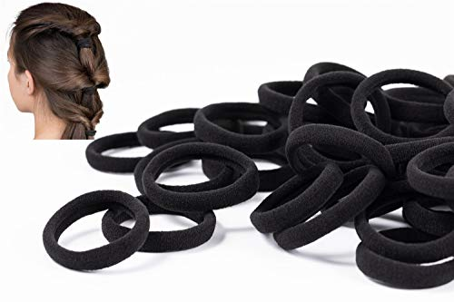 50 PCS Black Hair Ties for Women,Seamless Hair Bands That Will Not Break,Ponytail Holders,Will Not Slip or Tangles,No Damage to Thick Hair,2 Inch in Diameter