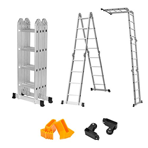 Finether 15. 4ft telescoping ladder multi purpose aluminum extension...
